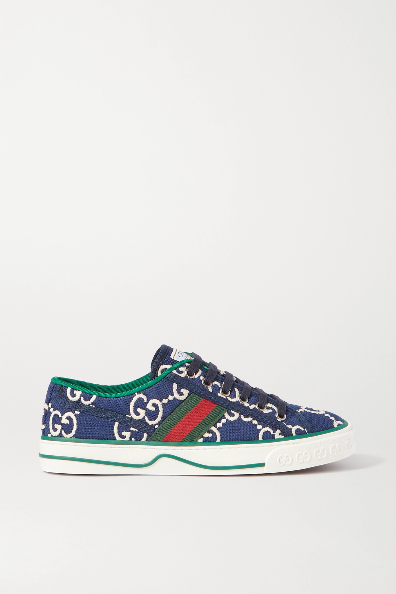 GUCCI - TENNIS 1977 LOGO-EMBROIDERED CANVAS SNEAKERS
